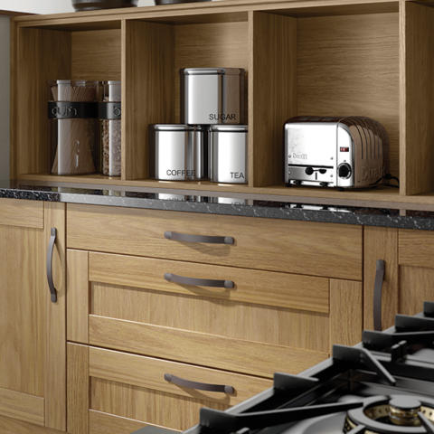Oak kitchen curved drawers open shelves
