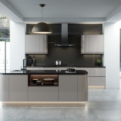 Strada gloss cashmere kitchen main