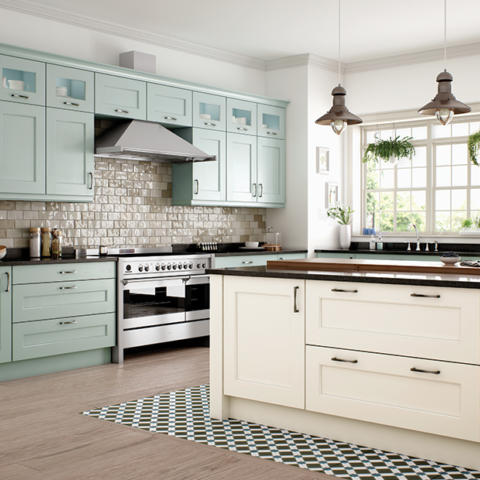 Wakefield painted ivory powder blue kitchen cabinets
