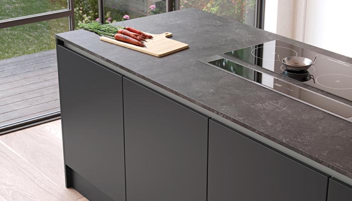 Modern contemporary zola soft matte kitchen island unit graphite