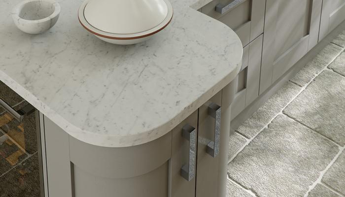 Windsor shaker stone kitchen quadrant doors